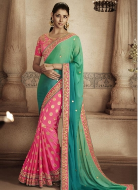 Compelling Beads Work Faux Georgette Rose Pink and Sea Green Half N Half Trendy Saree For Festival