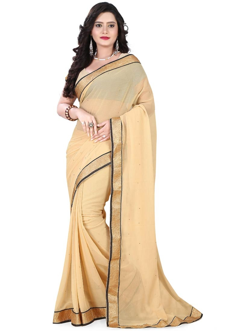 Compelling Beige Color Resham Work Casual Saree