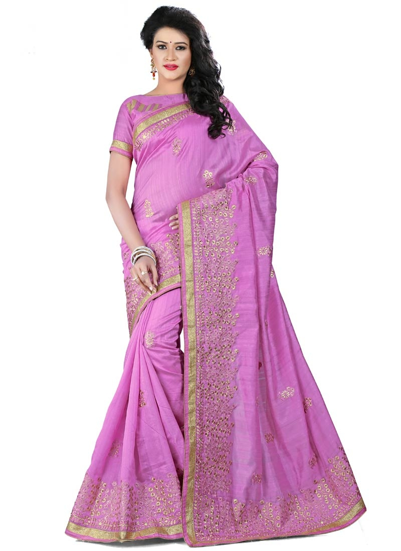Compelling Bhagalpuri Silk Lavender Color Party Wear Saree