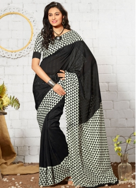 Compelling Black Color Print Work Casual Saree