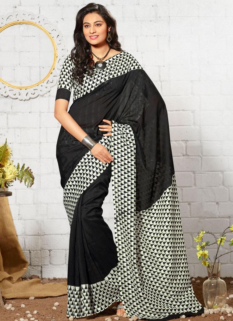 Compelling Black Color Print Work Casual Saree