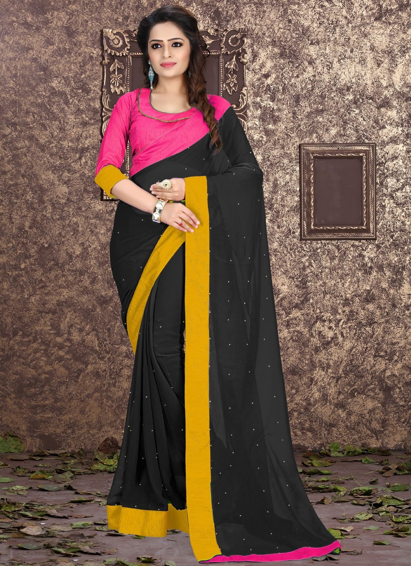 Compelling Black Color Stone Work Casual Saree