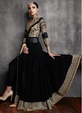 Compelling Black Color Stone Work Pant Style Designer Salwar Suit