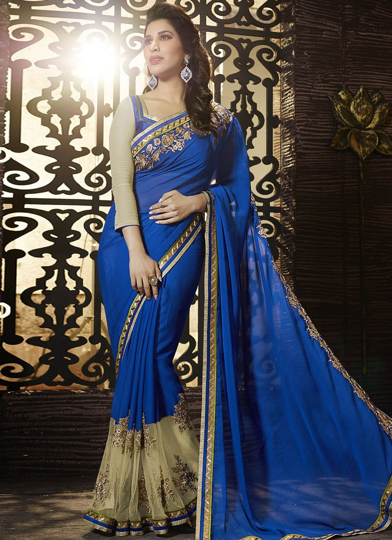 Compelling Blue Color Net Party Wear Saree