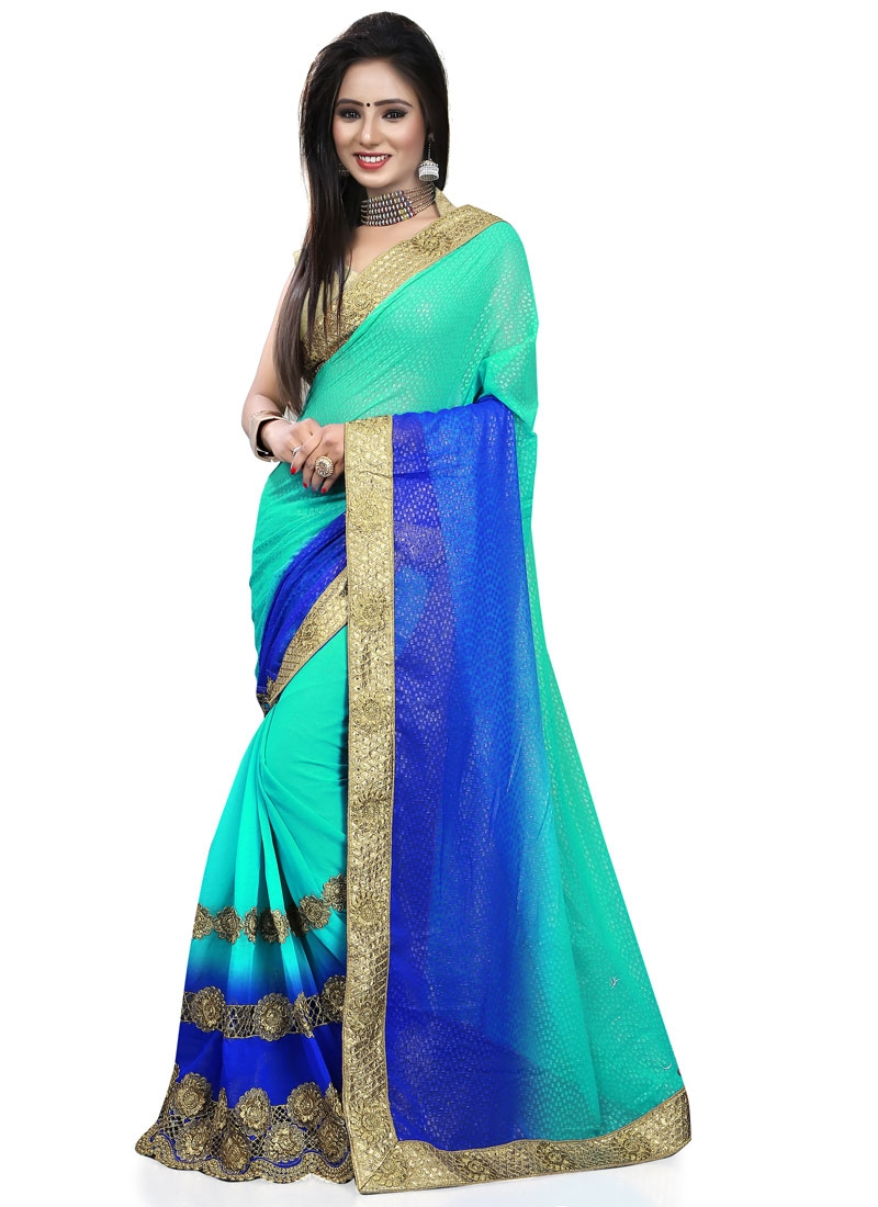 Compelling Blue Color Resham Work Designer Saree