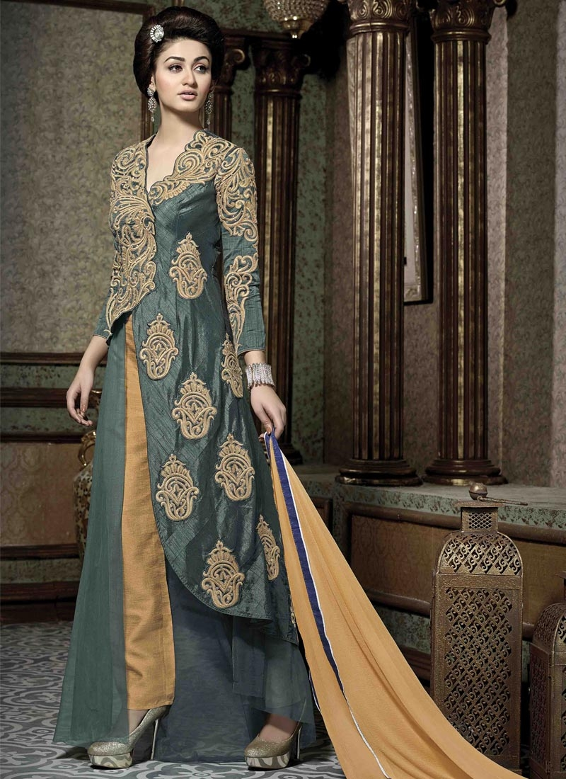 Compelling Booti Work Grey Color Pant Style Designer Suit
