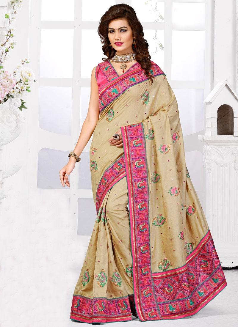 Compelling Booti Work Manipuri Silk Wedding Saree