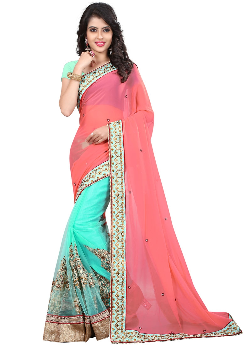 Compelling Booti Work Net Half N Half Party Wear Saree