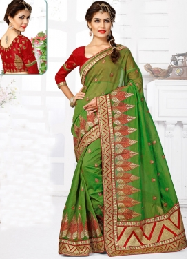 Compelling Chanderi Silk Lace Work Designer Saree