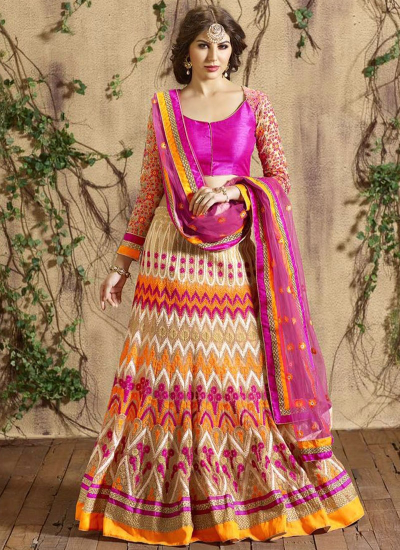 Compelling Cream And Magenta Color Bridal Lehenga Choli