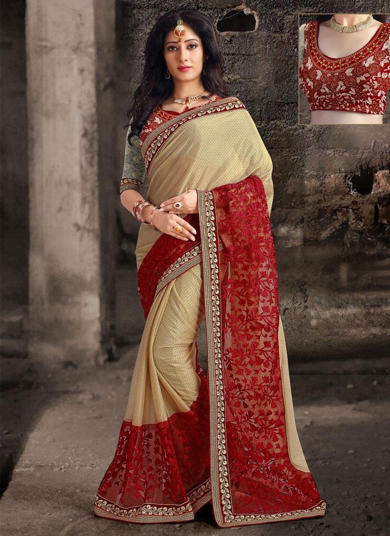Compelling Cream And Red Color Designer Saree