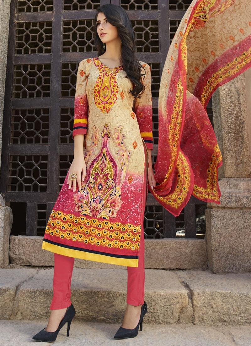 Compelling Cream Color Cotton Pant Style Party Wear Salwar Kameez
