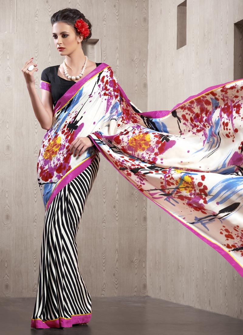 Compelling Crepe Silk Half N Half Casual Saree