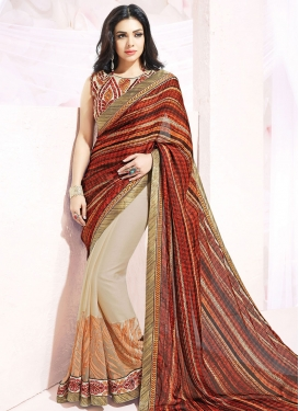 Compelling Digital Print Work Silk Georgette Half N Half Party Wear Saree