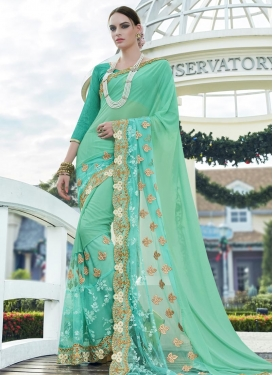 Compelling  Embroidered Work Faux Georgette Designer Contemporary Style Saree