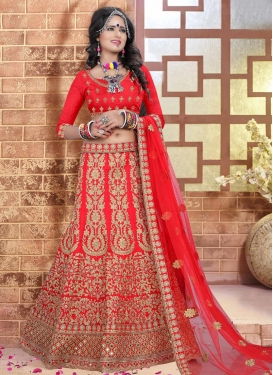 Compelling Embroidered Work Trendy Lehenga Choli For Bridal
