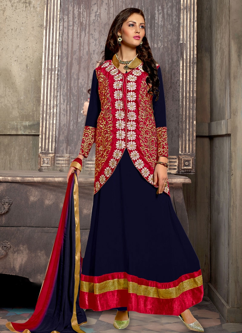 Compelling Embroidery Work Jacket Style Party Wear Suit