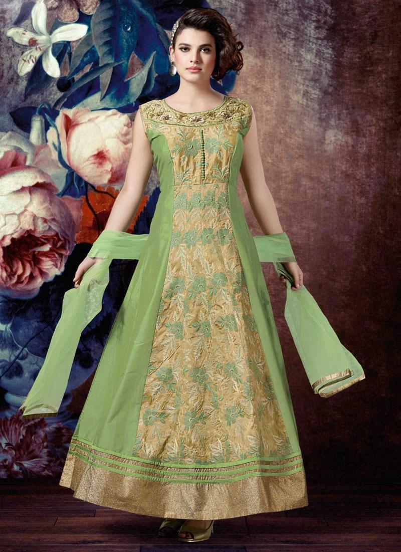 Compelling Embroidery Work Readymade Anarkali Salwar Kameez