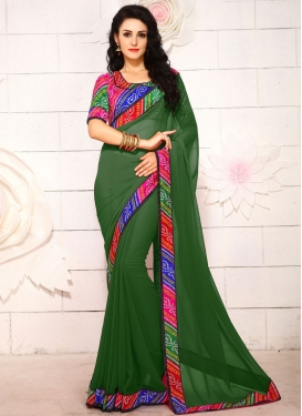 Compelling Faux Georgette Bandhej Print Work Casual Saree