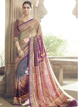 Compelling Grey And Purple Color Party Wear Saree