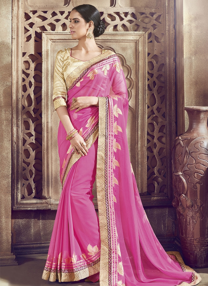 Compelling Hot Pink Color Lace Work Party Wear Saree
