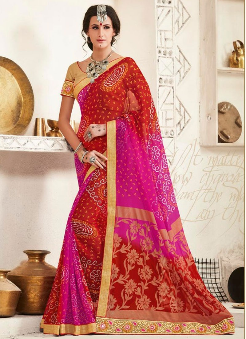 Compelling Lace And Bandhej Print Work Party Wear Saree