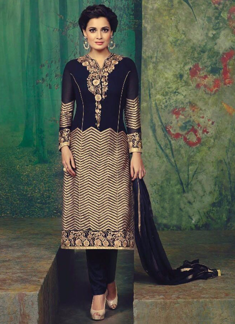 Compelling Lace Work Dia Mirza Pant Style Designer Suit