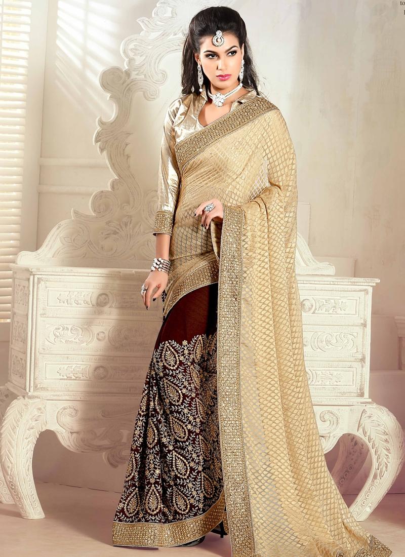 Compelling Lace Work Half N Half Wedding Saree
