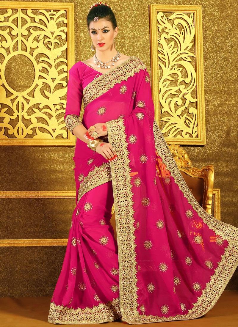 Compelling Lace Work Rose Pink Color Designer Saree