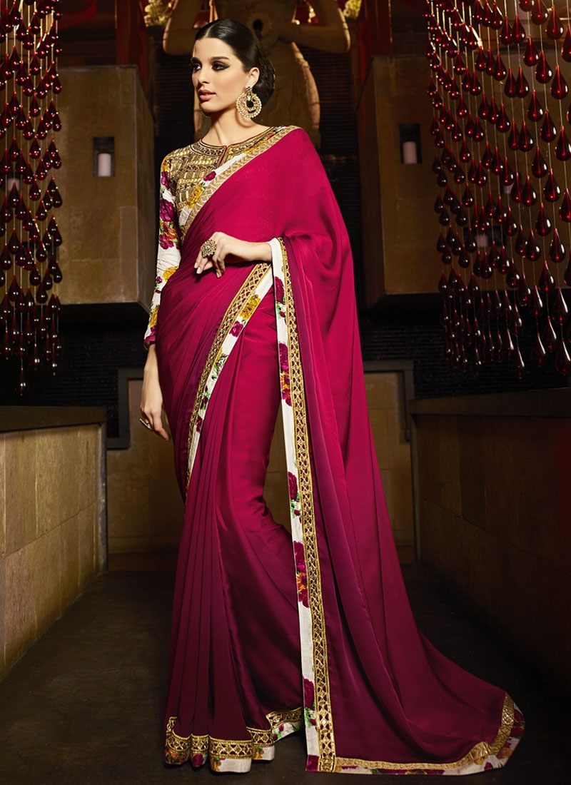 Compelling Lace Work Satin Shaded Designer Saree