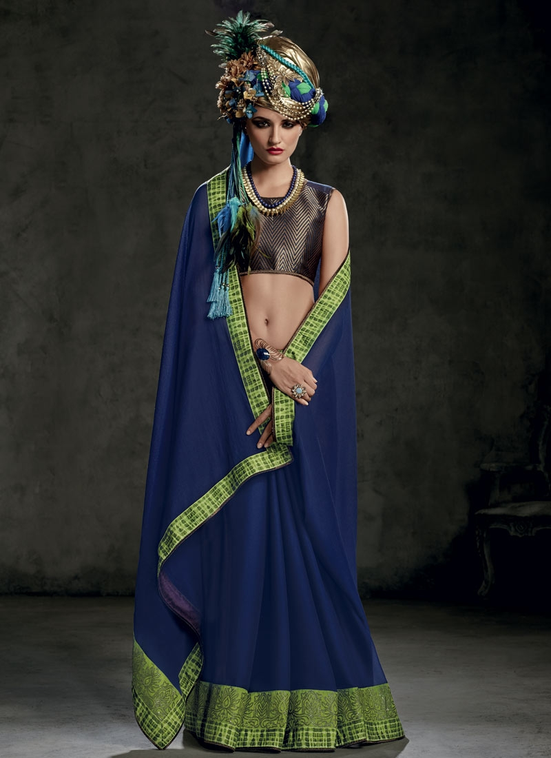 Compelling Navy Blue Color Lace Work Party Wear Saree