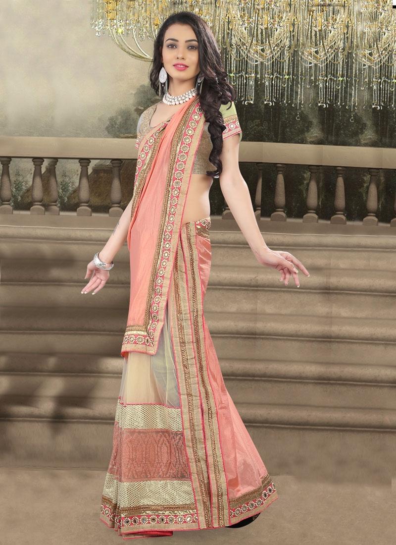 Compelling Net Resham Work Designer Saree