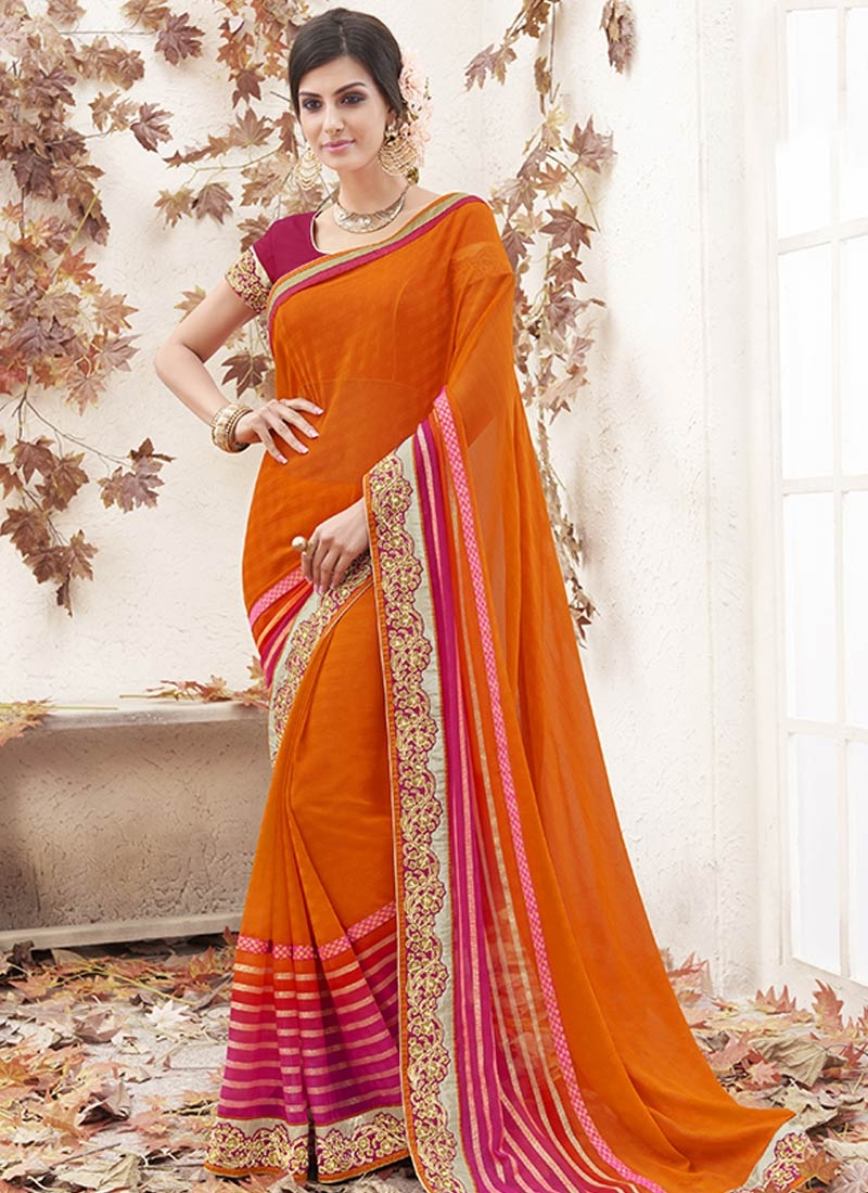 Compelling Orange And Hot Pink Color Party Wear Saree