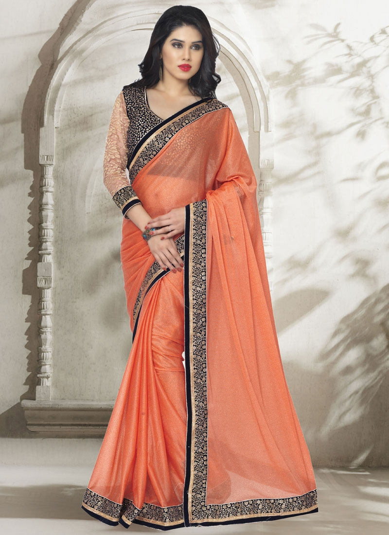 Compelling Orange Color Sequins Work Party Wear Saree