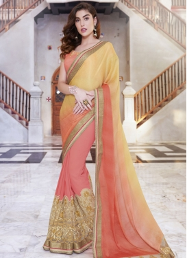 Compelling Patch Border Work Half N Half Designer Saree