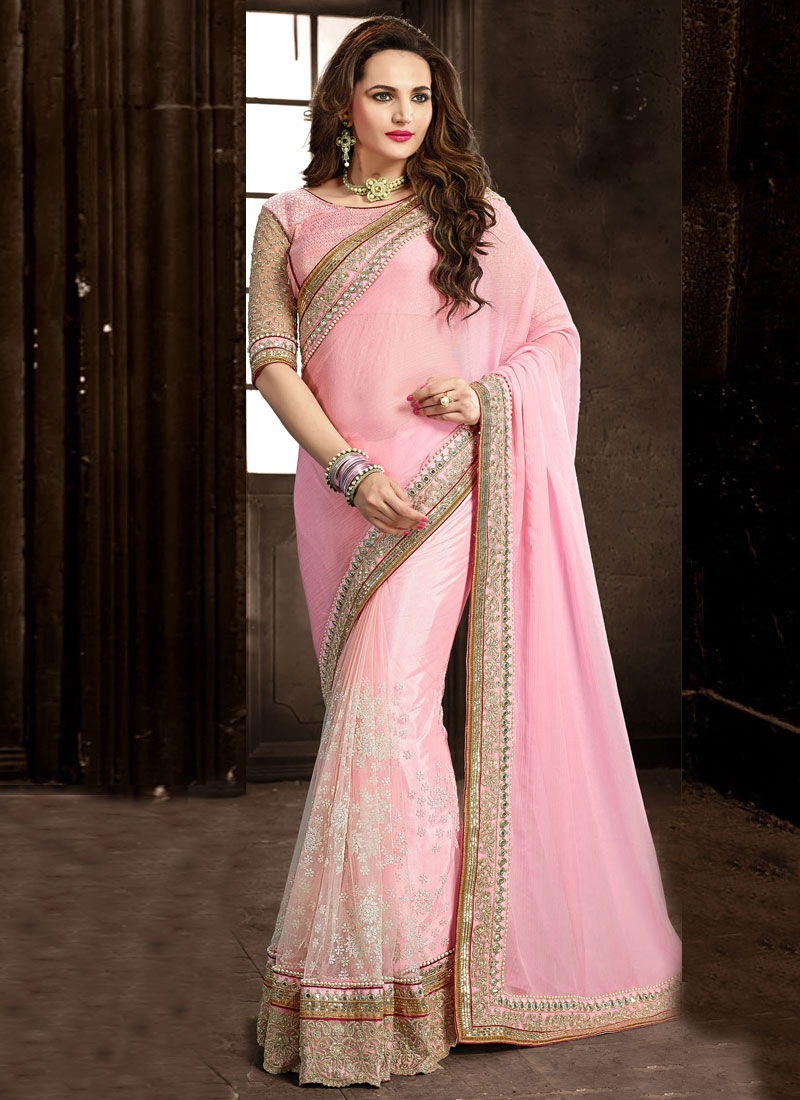 Compelling Patch Border Work Pink Color Wedding Saree