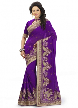Compelling Purple Color Faux Georgette Designer Saree
