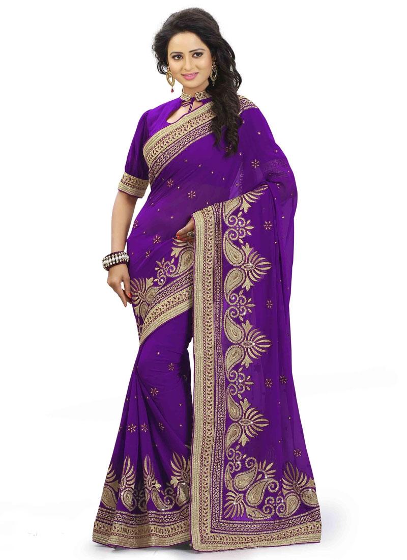 Compelling Purple Color Faux Georgette Designer Saree