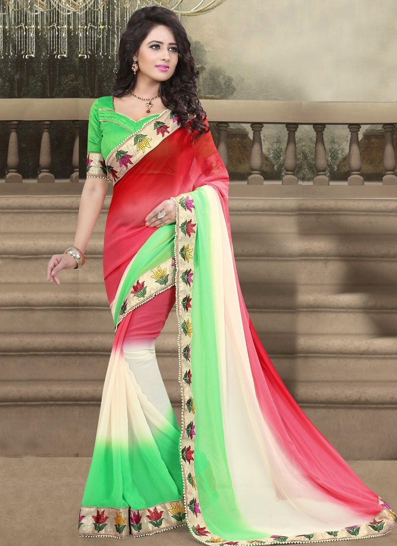 Compelling Red And Mint Green Color Party Wear Saree