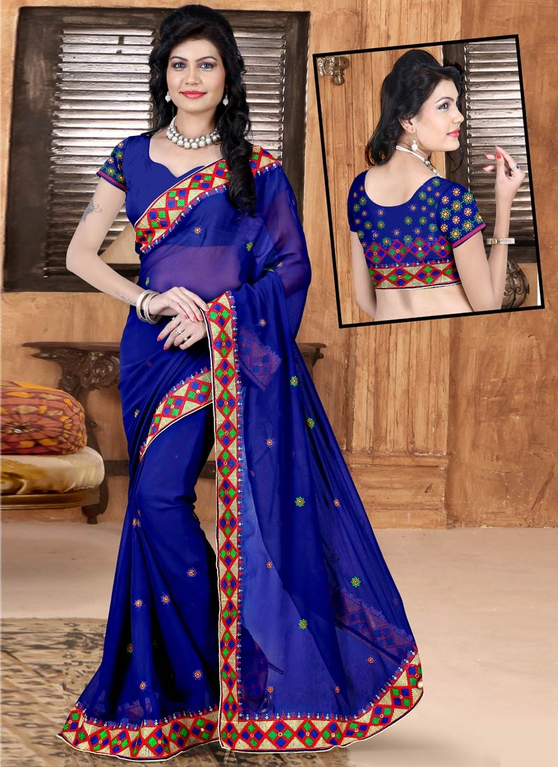 Compelling Resham And Lace Work Party Wear Saree
