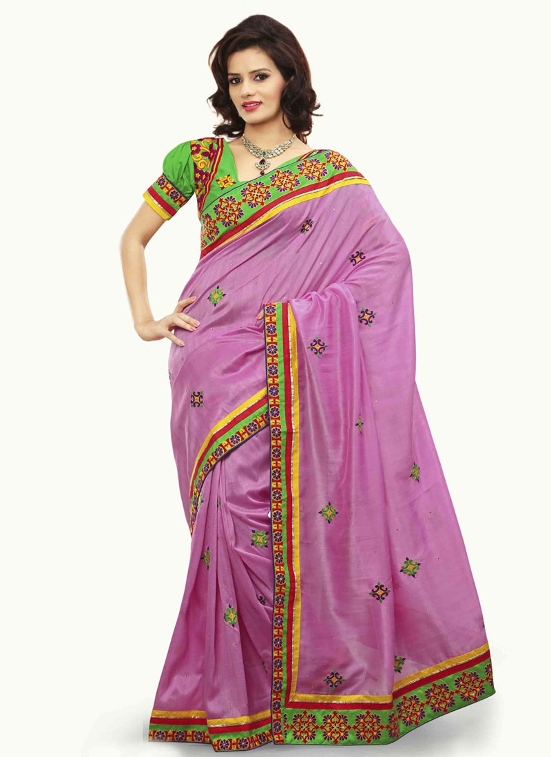 Compelling Resham Work Party Wear Saree