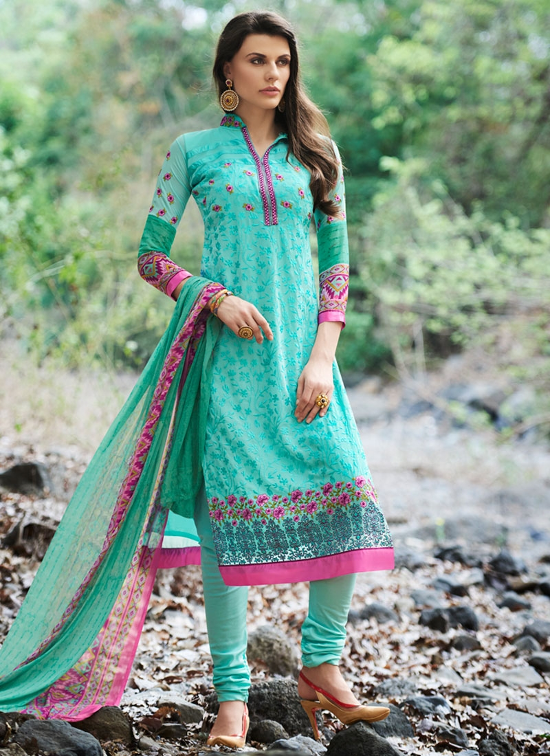 Compelling Resham Work Turquoise Color Party Wear Suit