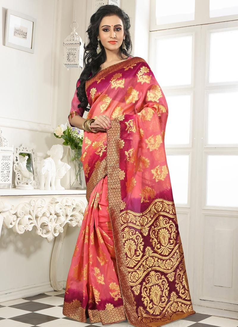 Compelling Salmon And Purple Color Party Wear Saree