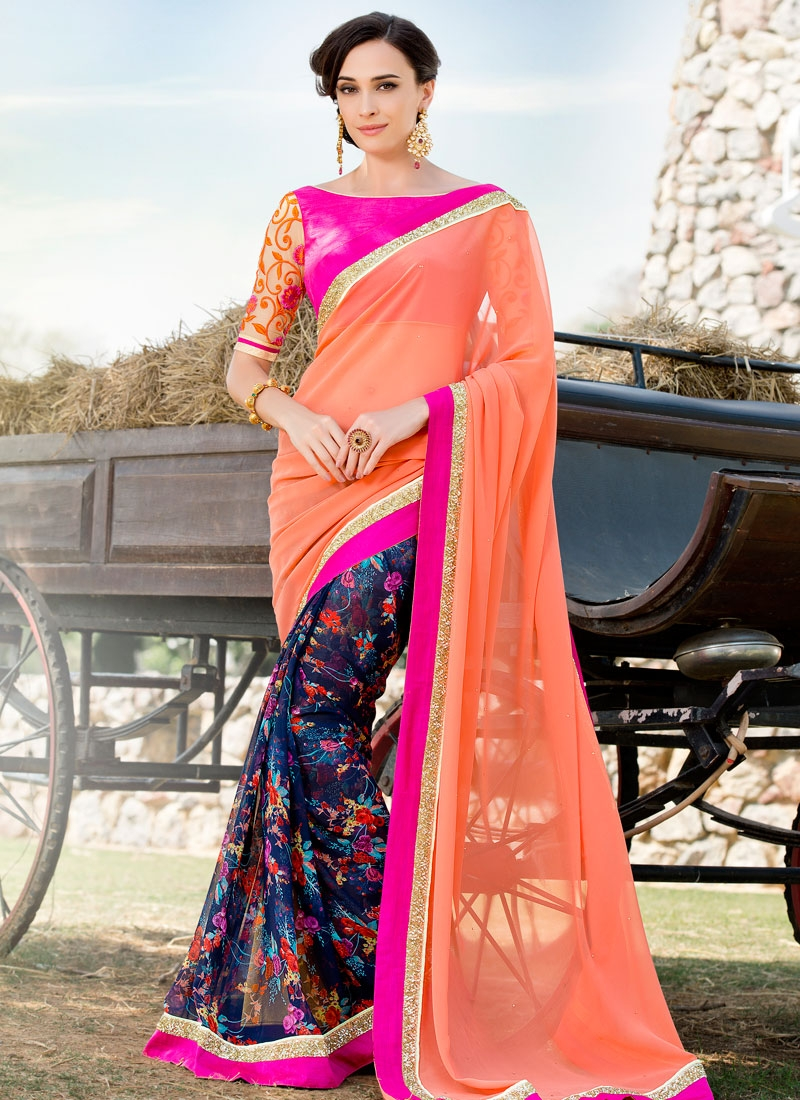 Compelling Sequins And Digital Print Work Half N Half Party Wear Saree