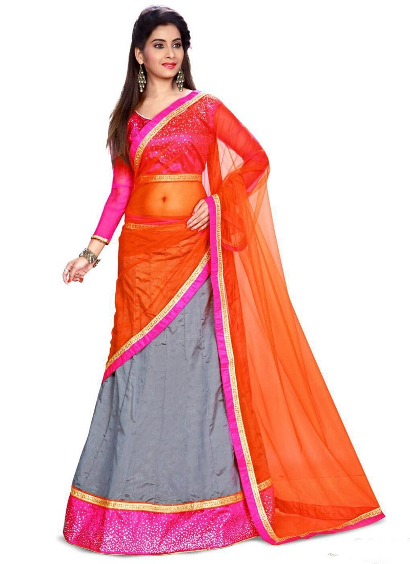 Compelling Silk Grey Color Party Wear Lehenga Choli