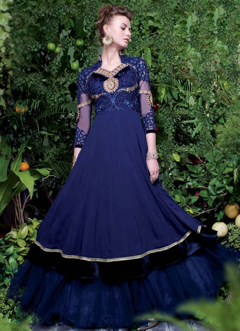 Compelling Stone Work Floor Length Readymade Designer Gown
