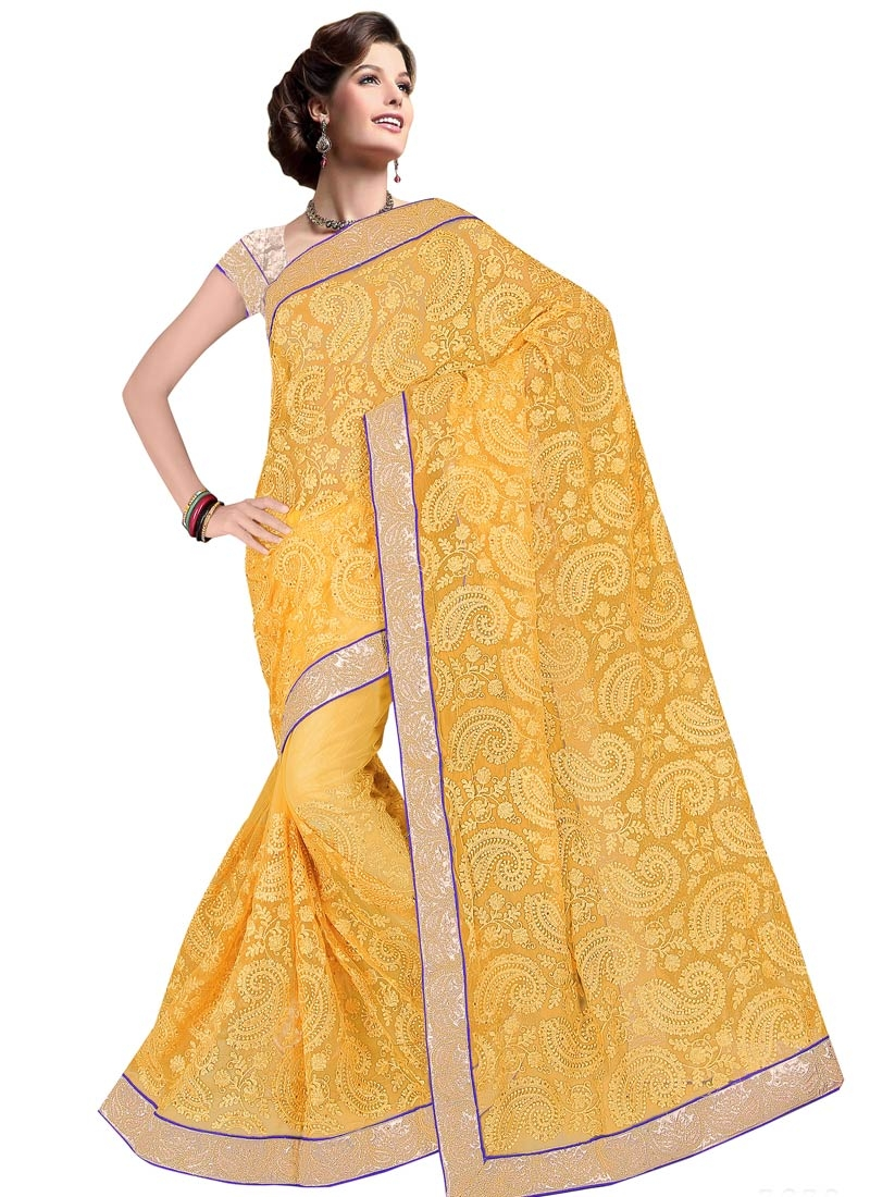 Compelling Stone Work Mustard Color Party Wear Saree