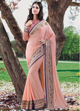 Competent Beads And Patch Border Work Designer Saree