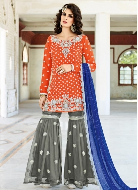 Competent Beads Work Grey and Orange Net Designer Salwar Kameez
