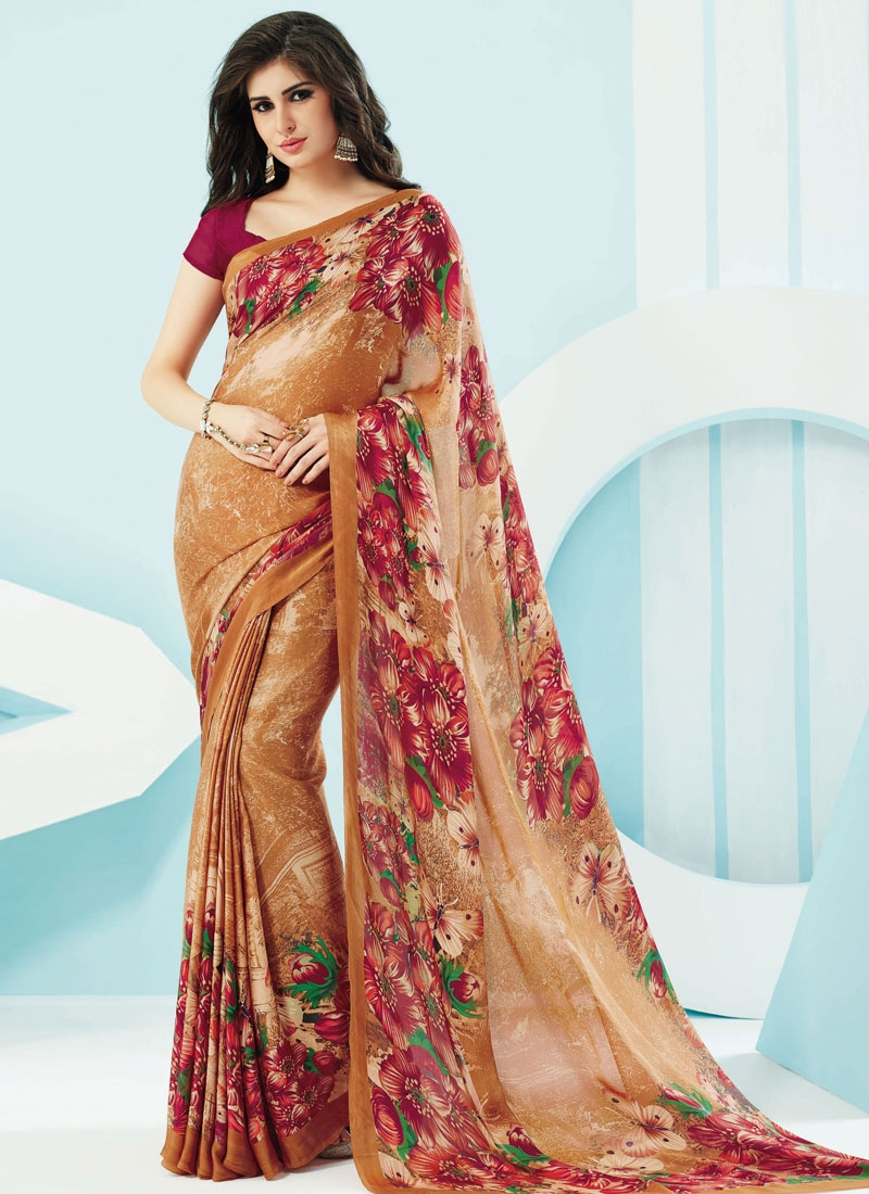 Competent Digital Print Work Brown Color Casual Saree
